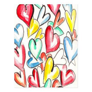 Love Hearts Pencil and Aquarelle Postcards