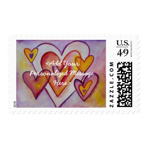 Love Hearts Personalized Custom Postage Stamps