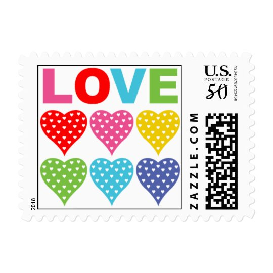 Love hearts postage stamp