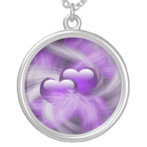 love hearts purple silver plated necklace
