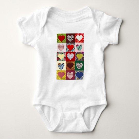 Love Hearts Quilt Baby Bodysuit