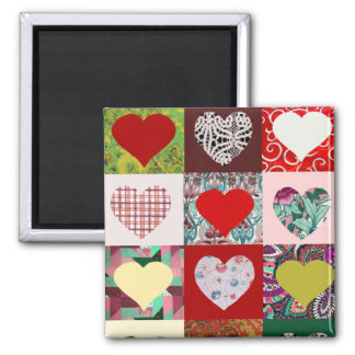 Love Hearts Quilt Refrigerator Magnets