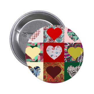 Love Hearts Quilt Pinback Buttons