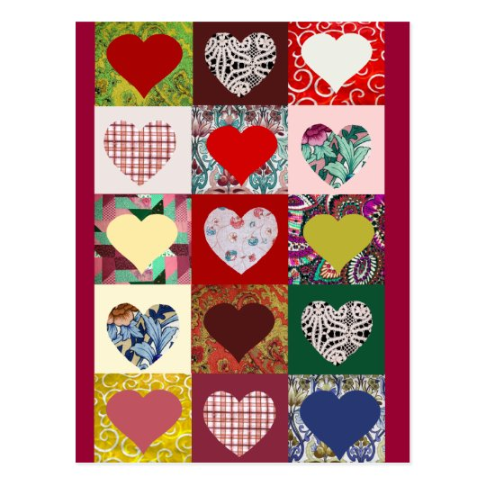 Love Hearts Quilt Postcard