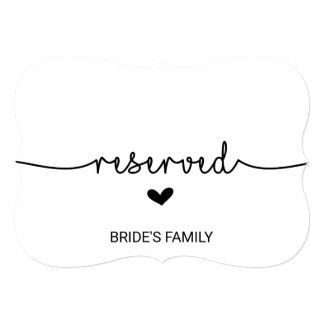Love Hearts Reserved Sign Invitation