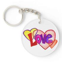 Love Hearts Ring Art Keychain