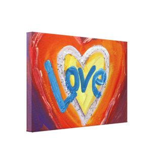 Love Hearts Ripple Painting Canvas Art Print