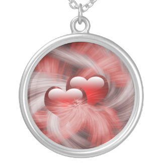 love hearts round pendant necklace