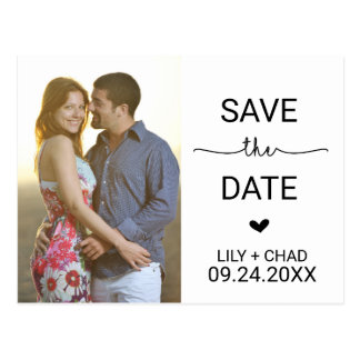 Love Hearts Save the Date Photo Postcard