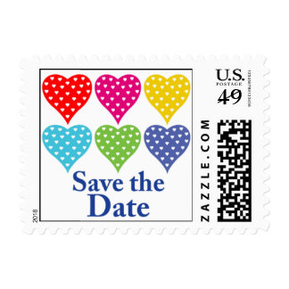 Love Hearts save the date postage stamp