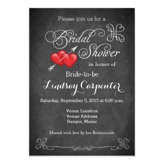 Love Hearts, Scrolls Chalkboard Bridal Shower 5x7 Paper Invitation Card