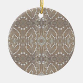 Love Hearts Sea Shells, Romantic Exotic Tropical Ceramic Ornament
