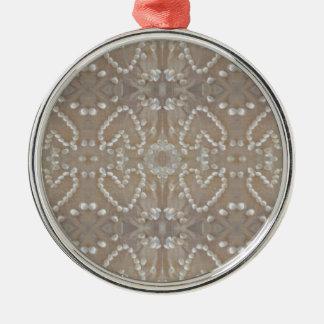 Love Hearts Sea Shells, Romantic Exotic Tropical Metal Ornament