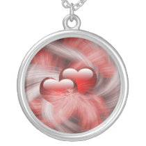 love hearts silver plated necklace