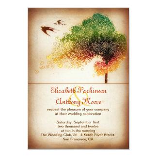 """love hearts tree wedding announcement - invitation 5"""" x 7"""" invitation card"""