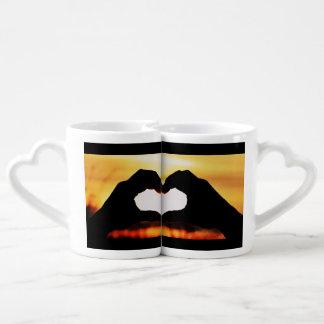 Love Hearts Wedding Shower Peace Sunset Coffee Mug Set