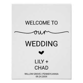 Love Hearts Wedding Welcome Poster