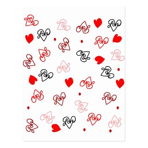 Love & Hearts Word Art Pattern Postcard