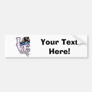 Love Hockey Car Bumper Sticker