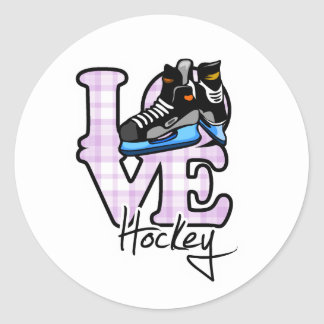 Love Hockey Classic Round Sticker
