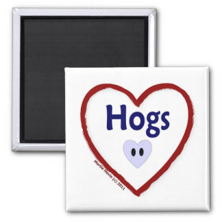 Love Hogs 2 Inch Square Magnet