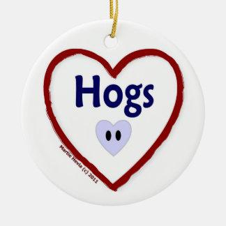 Love Hogs Ceramic Ornament