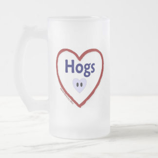 Love Hogs Frosted Glass Beer Mug
