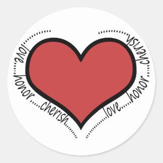 love honor cherish classic round sticker