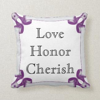 Love, Honor, Cherish With Purple Ribbon Border Throw Pillow