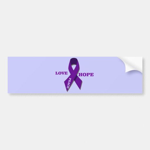 Love Hope And Peace Purple Ribbon Bumper Stickers