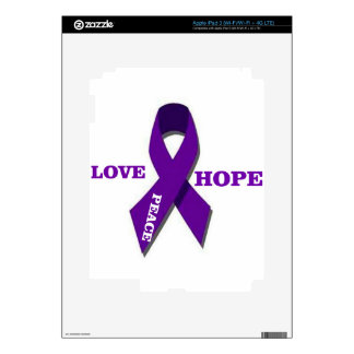 Love Hope And Peace Purple Ribbon iPad 3 Decals
