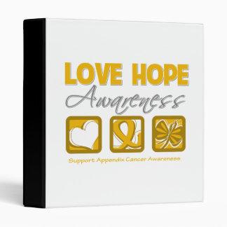 Love Hope Awareness Appendix Cancer Vinyl Binders