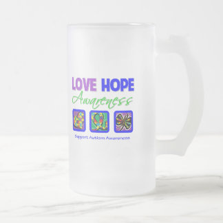 Love Hope Awareness Autism 16 Oz Frosted Glass Beer Mug