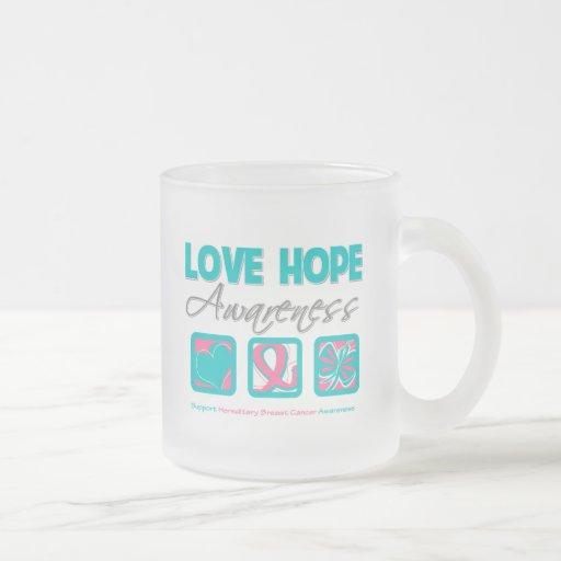 Love Hope Awareness Hereditary Breast Cancer 10 Oz Frosted Glass Coffee Mug