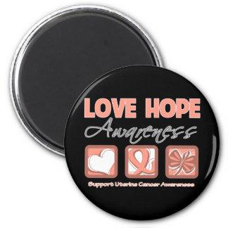 Love Hope Awareness Uterine Cancer 2 Inch Round Magnet