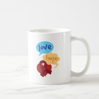 Love Hope Burgundy Ribbon Coffee Mug