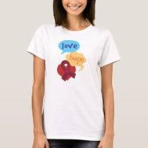 Love Hope Burgundy Ribbon T-Shirt