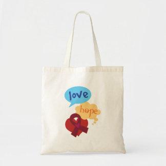 Love Hope Burgundy Ribbon Tote Bag