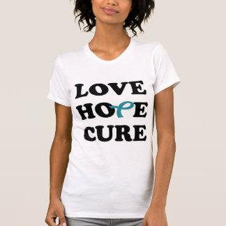 Love Hope Cure Teal Ovarian Cancer ribbon t-shirt