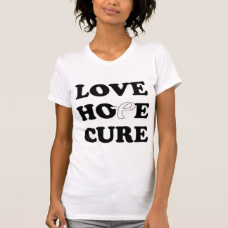 Love Hope Cure White Lung Cancer ribbon t-shirt