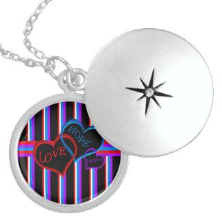 Love, Hope, Dream black Locket Necklace