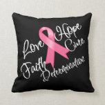 Love Hope Faith Cure Breast Cancer Pillow