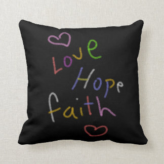 Love,Hope,Faith/Kidney Throw Pillow