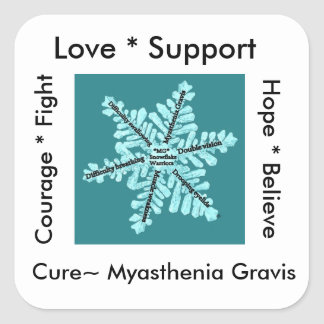 Love/ Hope/ Fight / Cure - Myasthenia Awareness Square Sticker