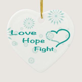Love Hope Fight  - Ovarian Cancer Awareness Ceramic Ornament