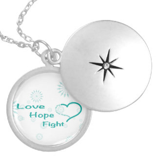 Love Hope Fight  - Ovarian Cancer Awareness Round Locket Necklace
