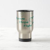 Love Hope Fight  - Ovarian Cancer Awareness Travel Mug