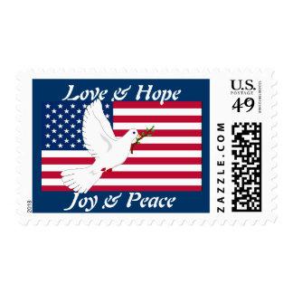 Love & Hope, Joy & Peace, Dove & Flag Stamp
