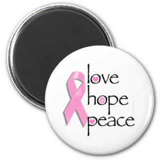 Love Hope Peace Breast Cancer Tees and Gifts 2 Inch Round Magnet
