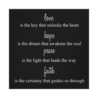Love, Hope, Peace, Faith Canvas Print